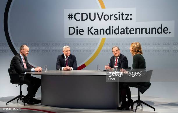 Friedrich Merz, Norbert Roettgen and Armin Laschet, the three current candidates vying for the leadership post of the German Christian Democrats ,...