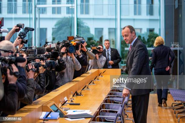 Friedrich Merz of the Christian Democratic Union arrives for the press conference to announce his CDU Leadership Candidacy on February 25 2020 in...
