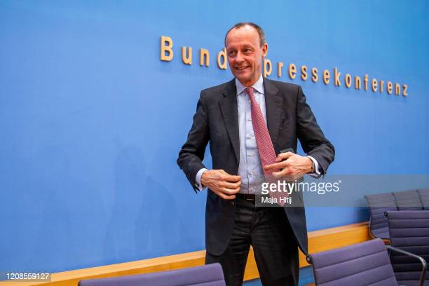 Friedrich Merz of the Christian Democratic Union leaves after the press conference to announce his CDU Leadership Candidacy on February 25 2020 in...