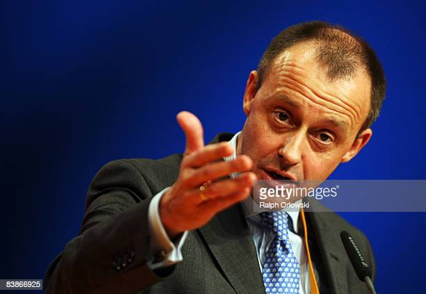 Friedrich Merz of the Christian Democratic Union speaks at the annual party congress on December 1 2008 in Stuttgart Germany The party congress that...