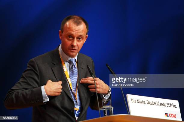 Friedrich Merz of the Christian Democratic Union speaks at the annual party congress on December 1, 2008 in Stuttgart, Germany. The party congress...