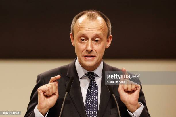 Friedrich Merz one of three candidates for the new leadership of the German Christian Democrats addresses delegates at the federal congress of the...