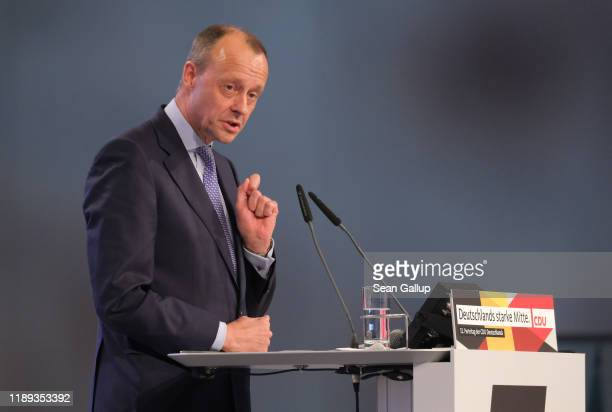 Friedrich Merz politician of the German Christian Democrats speaks at the 32nd federal congress of the German Christian Democrats on November 22 2019...