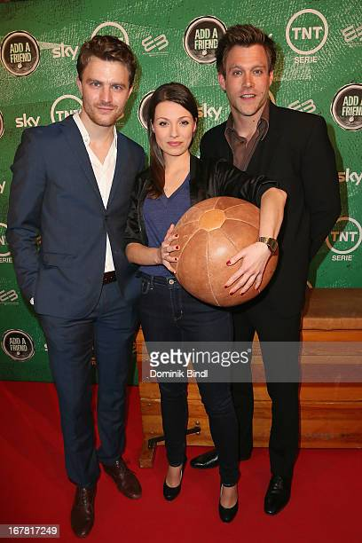 Friedrich Muecke Julia Hartmann and Ken Duken attend 'Add a Friend' Preview Event of TNT Serie at Bayerischer Hof on April 30 2013 in Munich Germany...