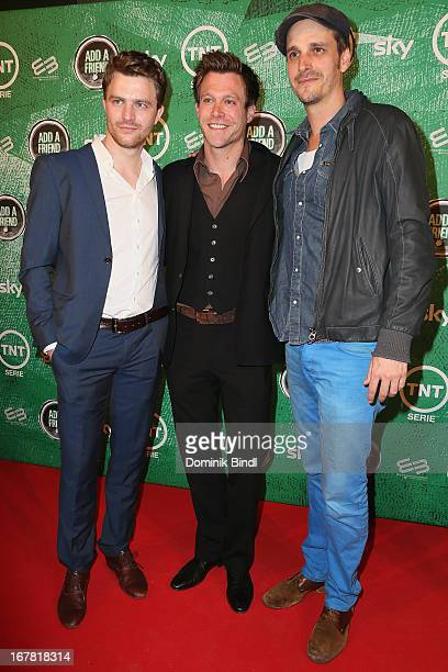 Friedrich Muecke Ken Duken and Max von Thun attend 'Add a Friend' Preview Event of TNT Serie at Bayerischer Hof on April 30 2013 in Munich Germany...