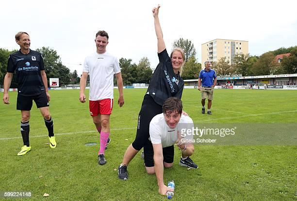 Friedrich Muecke Stefanie von Poser and Georg Veitl during the charity football game 'Kick for Kids' to benefit 'Die Seilschaft zusammen sind wir...