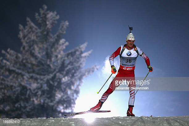 Friedrich Pinter of Austria competes in the men's 10km sprint event during the IBU Biathlon World Cup at Chiemgau Arena on January 12 2013 in...