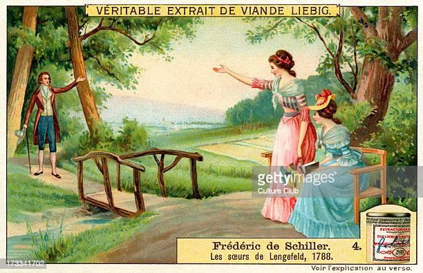 Lengefeld sisters, 1788. 1909. . No. 4 of series. Liebig Collectible Card. Johann Christoph Friedrich von Schiller, German poet, philosopher,...