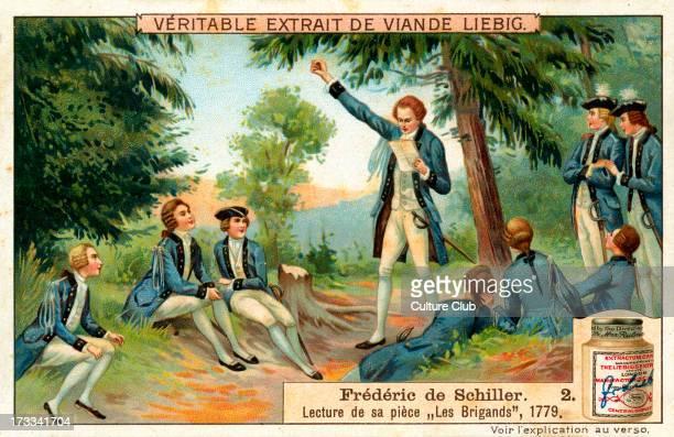 Reading The Brigands in 1779 1909 No 2 of series Liebig Collectible Card Johann Christoph Friedrich von Schiller German poet philosopher historian...