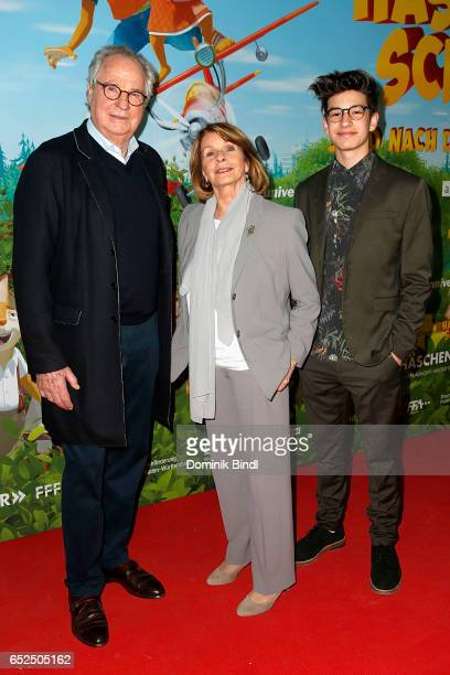 Friedrich von Thun Senta Berger and Noah Levi attend the premiere of 'HaeschenschuleJagd nach dem goldenen Ei' at Mathaeser Filmpalast on March 12...