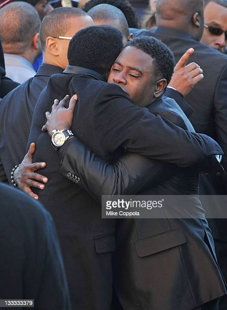 Friend and family console each other at the funeral service for Heavy D at Grace Baptist Church on November 18 2011 in Mount Vernon New York