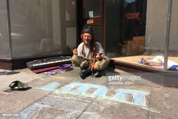 Friend of Dawn Sturgess and Charlie Rowley the couple poisoned by contact with the nerve agent Novichok Corky sits on the pavement in Salisbury on...