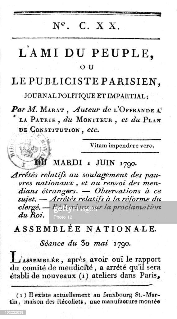 foto de Friend of the people, the Marat newspaper France, Revolution of ...