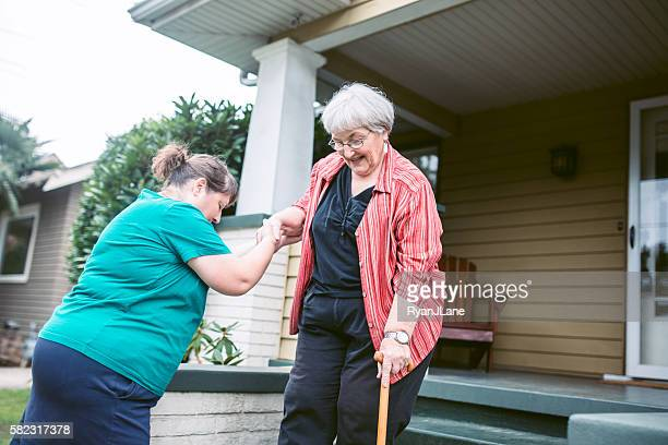 Friend Provides Assistance to Senior Woman
