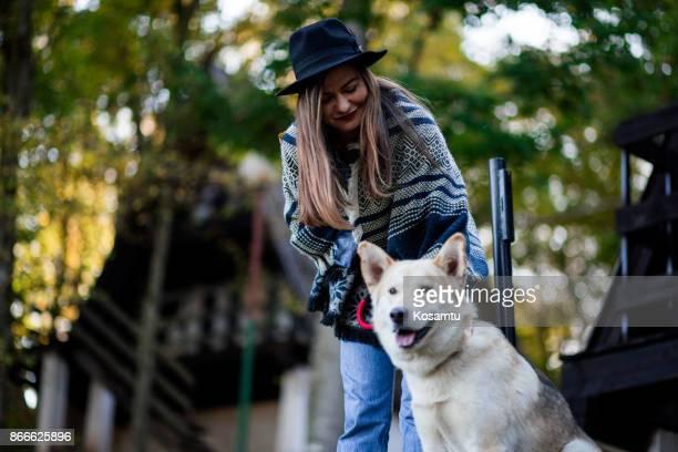 Friendly Dog And Pretty Girl