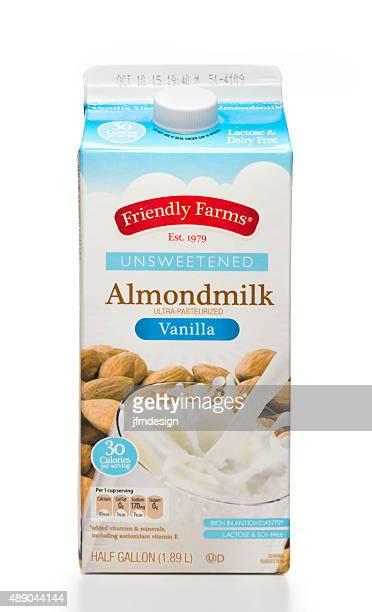 friendly farms unsweetened vanilla almondmilk half gallon carton - milk carton stock photos and pictures