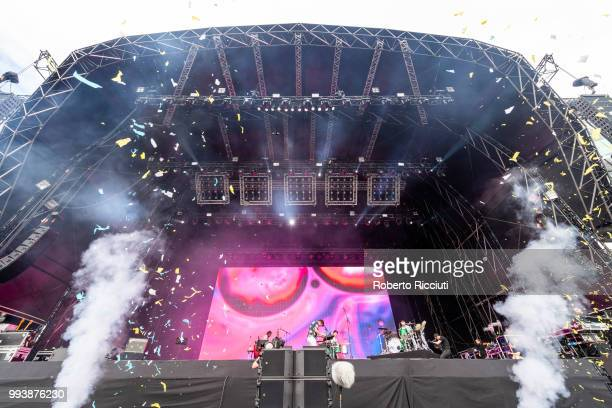 Friendly Fires perform on stage during TRNSMT Festival Day 5 at Glasgow Green on July 8 2018 in Glasgow Scotland