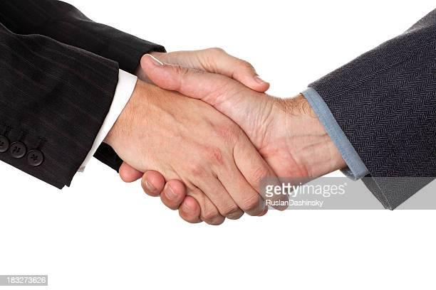 Friendly hands shake.