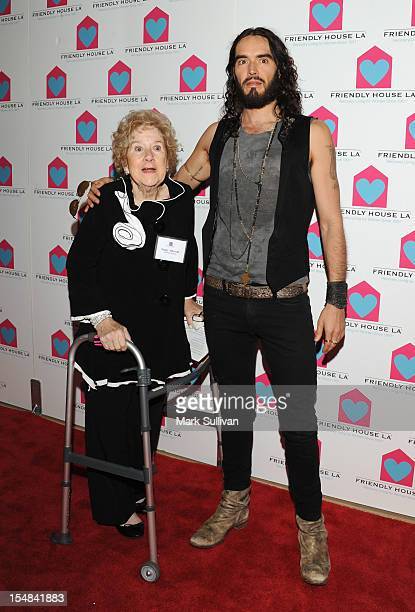 Friendly House executive director Peggy Albrecht and actor Russell Brand attend Friendly House LA Annual Awards Luncheon Gala at The Beverly Hilton...