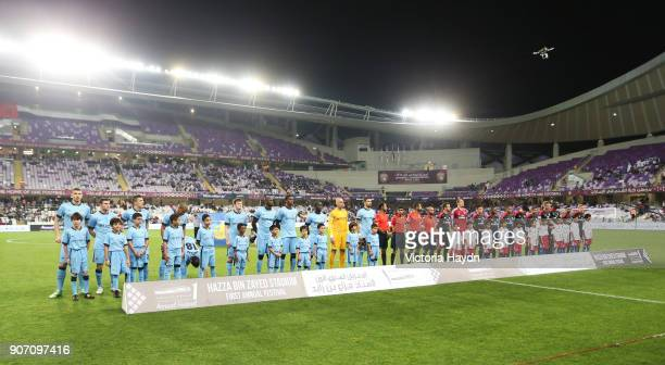 Friendly Manchester City v Hamburg SV Hazza Bin Zayed Stadium Manchester City's squad and Hamburg line up before the game