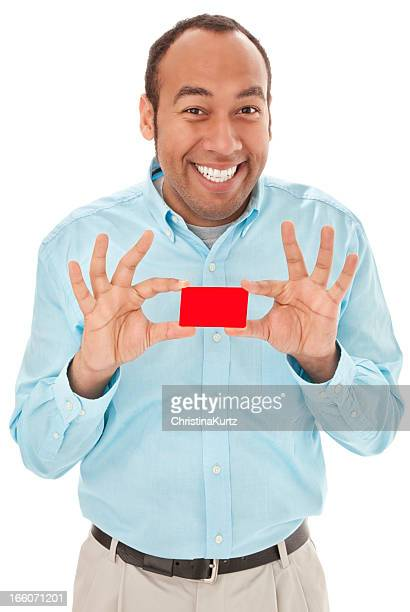 Friendly Mixed Race Man Holding Business or Credit Card