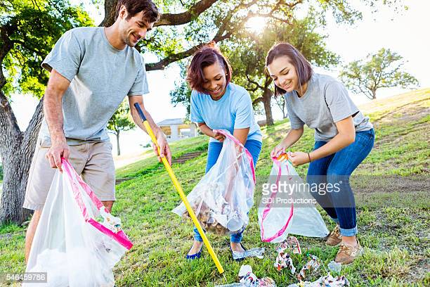Friendly neighbors help with park clean up