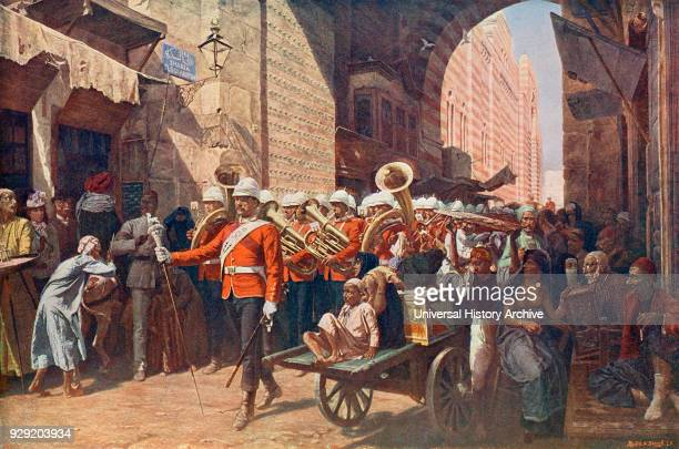 A friendly power in Egypt after the painting by WC Horsley The 41st Welsh regiment marching through the Metwali gate in Cairo Egypt in the 19th...