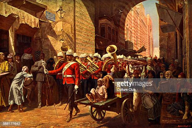 A friendly power in Egypt from painting by WC Horsley Welsh regiment marching through the Metwali gate in Cairo 1887