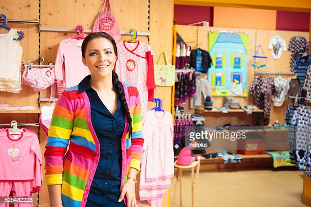 friendly sales person at children's store