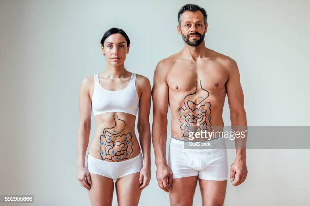 friendly stomach bacteria concept - torso stock pictures, royalty-free photos & images