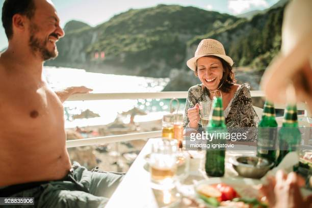 friendly summer fun - corfu stock pictures, royalty-free photos & images