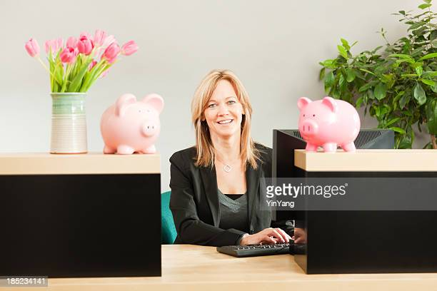 Friendly Woman Banker Working in Retail Banking Teller Window Hz