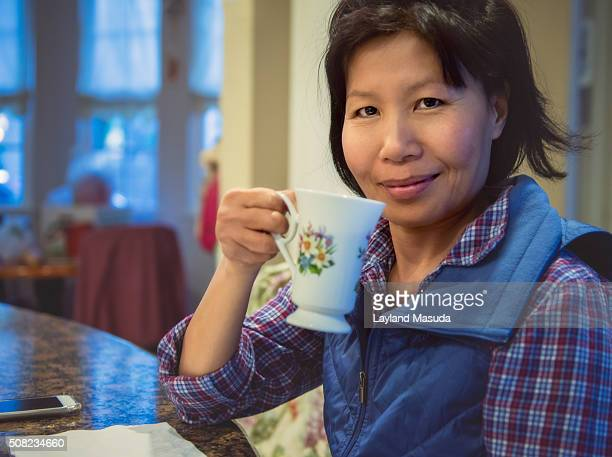 Friendly Woman Drinking Coffee