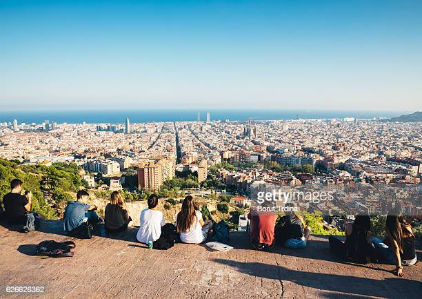 friends above barcelona - barcelona stock photos and pictures