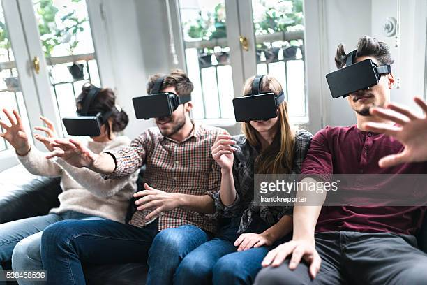 friends addicted to the VR simulator togetherness