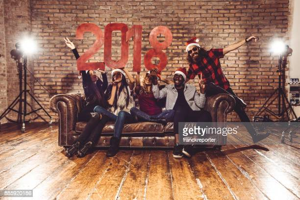 friends after party for the 2018 new yaer - christmas after party stock pictures, royalty-free photos & images