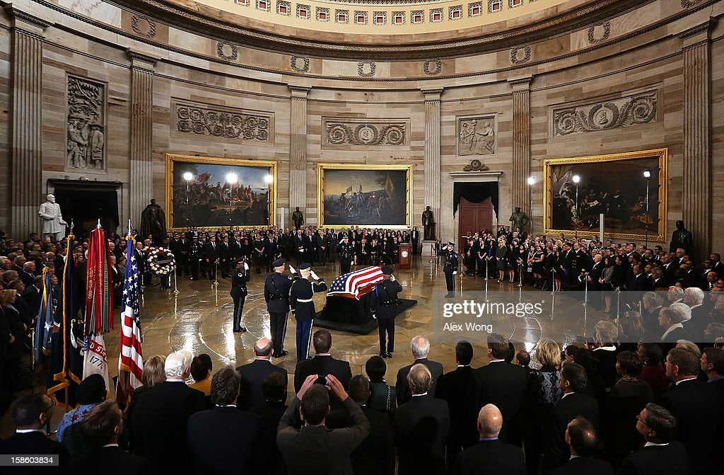 Friends and congressional staff line up to bid farewell to U.S. Senator Daniel Inouye (D-HI) as he lies in state in the Rotunda of the U.S. Capitol during a service December 20, 2012 on Capitol Hill in Washington, DC. The late Senator had died at the age of 88 on Monday at the Walter Reed National Military Medical Center in Bethesda, Maryland where he had been hospitalized since early December. A public funeral service will be held at the Washington National Cathedral on Friday for Senator Inouye, a World War II veteran and the second-longest serving senator in history. His remains will be returned and laid to rest in his home state.