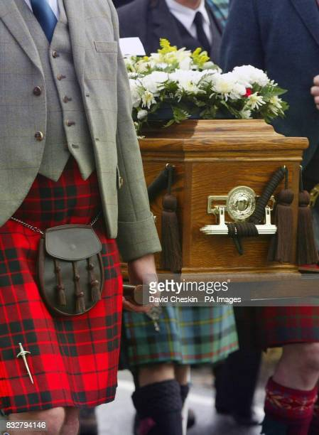 Friends and family attend the funeral of John Macleod of Macleod 29th Chief of Clan MacLeod who died on February 12 aged 71