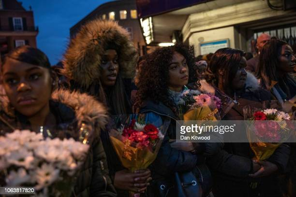 Friends and family gather at the scene where Malcolm Mide-Madariola was killed, and pay their respects on November 05, 2018 in London, England....