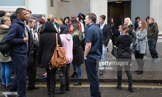 Friends and family gather outside Bristol Crown Court following the sentencing of Nathan Matthews and Shauna Hoare on November 13, 2015 in Bristol,...