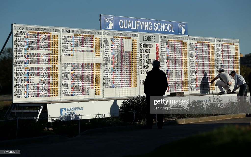 Friends and family keeps an eye on the scoreboard during round four of the European Tour Qualifying School Final Stage at Lumine Golf Club on November 14, 2017 in Tarragona, Spain.