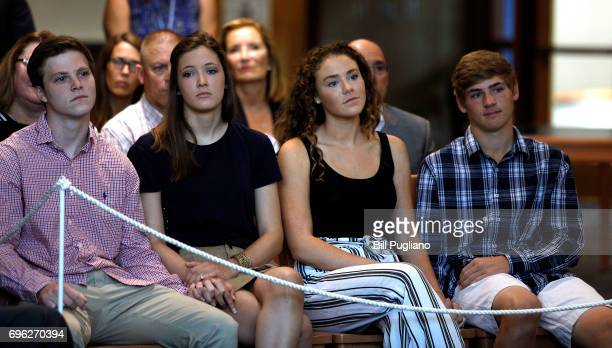 Friends and family listen as Fred Warmbier father of Otto Warmbier the 22yearold college student who was released from a North Korean prison on...