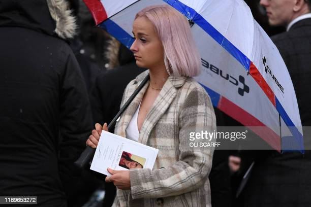 Friends and family members leave after attending a memorial service for University of Cambridge graduate Saskia Jones a victim of the Fishmongers'...
