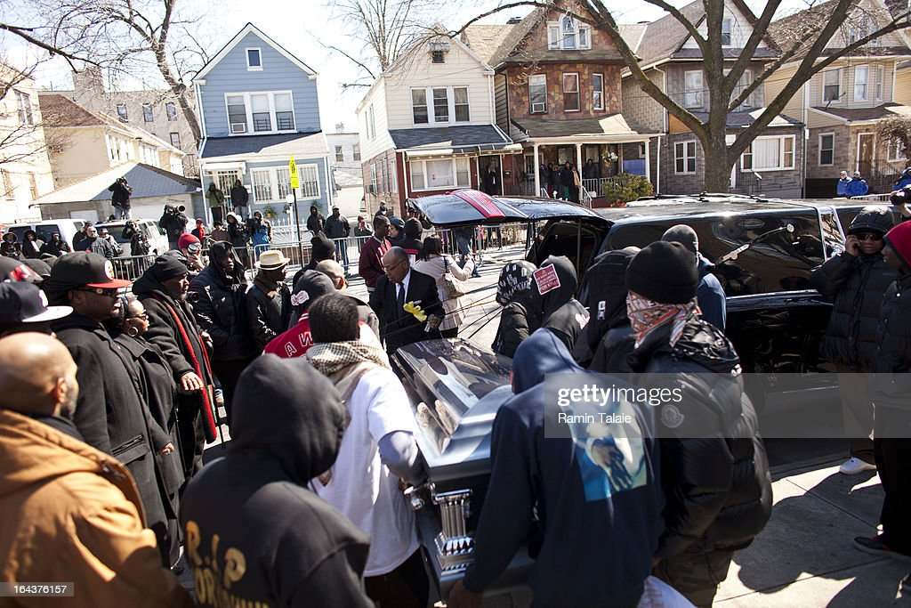 Friends and family of Kimani Gray, 16, carry his casket after his funeral service on March 23, 2013 in the Brooklyn borough of New York City. Kimani Gray was shot and killed by New York police officers for allegedly pointing a gun at them.