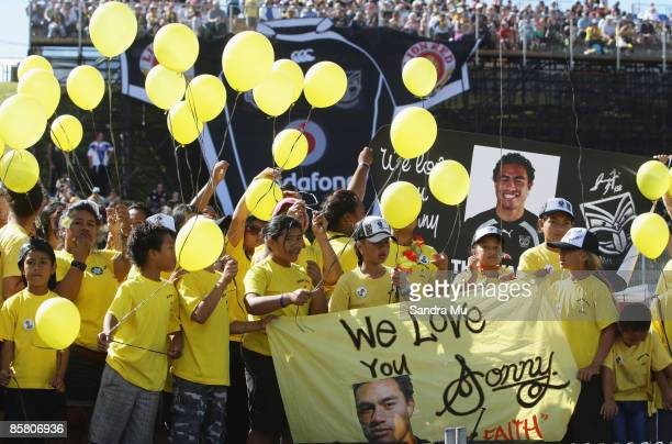 Friends and family of missing Warrior Sonny Fai release hellium balloons in rememberance before the round four NRL match between the Warriors and the...