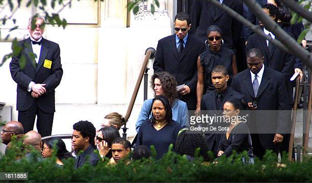 Friends and family of the late RB singer Aaliyah leave St Ignatius Loyola Church after the funeral service August 31 2001 in New York City The...