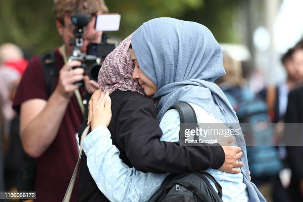 Friends and family of the victims gather at the support centre at the Hagley Community College on March 16 2019 in Christchurch New Zealand At least...