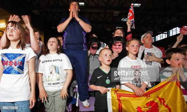 Friends and fans of Susan Boyle react at Blackburn community centre as they hear the result of television show Britain's Got Talent on May 30 2009 in...