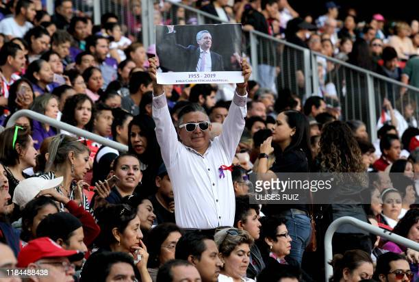 Friends and football fans attend the mass and tribute to businessman Jorge Vergara owner of the Guadalajara Football Club in Guadalajara Jalisco...