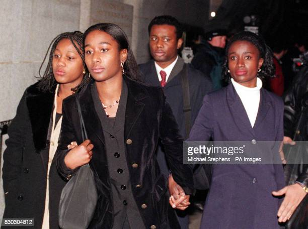 Friends and relatives of Musician Michael Menson the victim of an unprovoked racist murder sister Essie and Brother Kwesi leave The old bailey after...